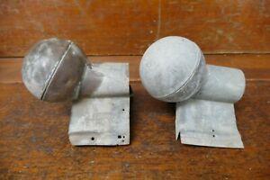 Set Of 2 Vintage MILCOR Roof Ridge Ball End Cap Finial 3 1/2 Inch Diameter