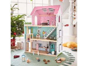 Casa delle bambole in legno Fai da te 3 piani (64L x 80A x 31 P) 31 oggetti