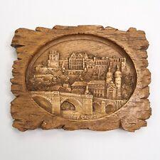 Heidelberg 3D Carved Wood Plague Wall Hanging Single Loop Rustic Art