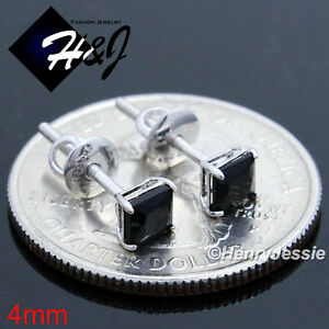 925 STERLING SILVER 4/5/6/7/8/9MM CLEAR/BLACK SQUARE CZ SILVER/GOLD STUD EARRING