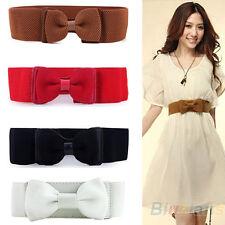 EG _ Cool femmes large extensible élastique nœud papillon ceinture 4 coloris