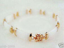New White Jade Yellow Gold Plated Link Luck Fortune Clasp Bangle Bracelet