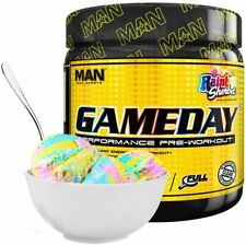 Man Sports Game Day Pre Workout Energy Powder, Rainbow Sherbet, 510g, 30 Serving