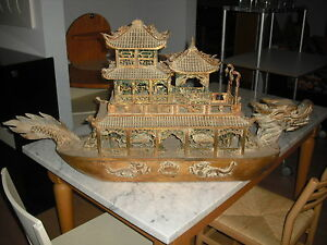 STATUA IN LEGNO CINESE NAVE DRAGONE CHINESE  DRAGON BOAT