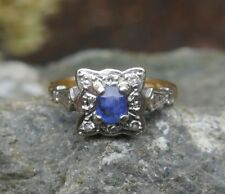 Vintage 1900's Sapphire & Diamond Wedding Ring 18K Multi-Tone Gold - Size 4.5