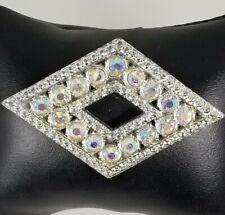 Diamond shaped Brooch. Ladies Vintage Clear Crystal