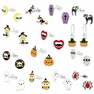 925 Sterling Silver Halloween Earrings Pumpkin Ghost Witch Black Cat Spider Bat