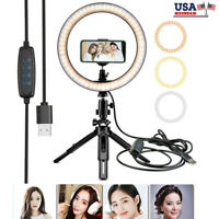 """10"""" Selfie Makeup LED Ring Dimmable Light W/ Tripod Stand Phone Holder Live Kit"""