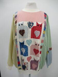 P5181 VTG 80's 90's Women's Work Patches Cats Multicolor Sweatshirt
