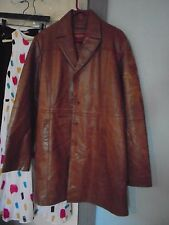 AMBITION NEW YORK 3X Brown distressed Leather trench coat jacket Lined pockets