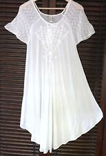WHITE Embroidered Dress Surf Coverup BOHO  S M L Peasant Crochet Nightgown Gypsy