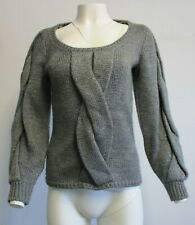 EMILIO PUCCI grey wool blend thick cable knit  pullover sweater SZ 6