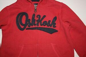 New OshKosh Boys 10 year Navy Logo Red Hoodie Full Zip Up Sweatshirt Top Hoodie