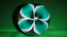 SIGNED SGS '01 USA ART GLASS PAPERWEIGHT GREEN AND WHITE FLOWER Ron Schuster