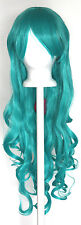 29'' Long Curly w/ Long Bangs Seafoam Green Cosplay Wig NEW