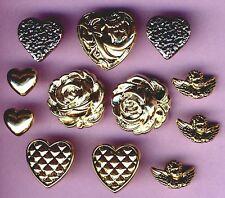 VALENTINE GLITZ - Rose Heart Cherub Victorian Gold Plastic Craft Buttons