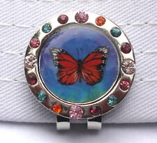 Monarch Butterfly Watercolor w/Crystals Golf Ball Marker & Magnetic Hat Clip