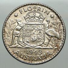 1943 AUSTRALIA Large King George VI Kangaroos Antique Silver Florin Coin i85081