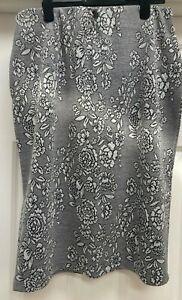 Marisota  Grey/Black Floral Jacqaurd Elasticated Band Skirt. UK Size 24/26