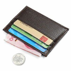 Men's Womens Real Leather Small Id Credit Card Wallet Holder Pocket-Case E1L9