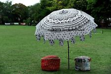 Indian Ombre Mandala Garden Parasol Cotton Tapestry Outdoor Sunshade Umbrella