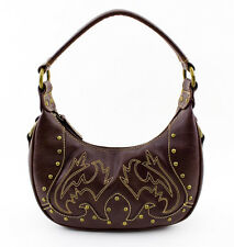 Womens Faux Leather Beaded Purse Brown Handbag Shoulder Bag Evening Tote JARFF