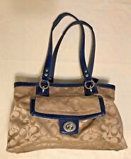 Coach F19043 Penelope Signature Satin Carryall Bag in Khaki with navy Navy  trim 2cb7afe609f9d