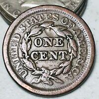 1851 US Large Cent Matron Braided Hair 1C High Grade Good US Copper Coin CC3729