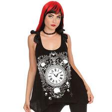 Jawbreaker Gothic Goth Punk Okkult Tank Top Oberteil - Vintage Clock Uhr Schwarz