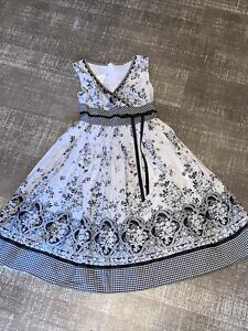 Girls Bonnie Jean Vintage-look floral Toile Fully Lined Dress Sz 8 beautiful!!