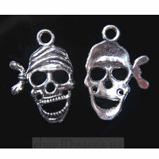30 piece 24mm Skull pirate Pendant Charms Tibetan Silver DIY Jewelry Making 7829