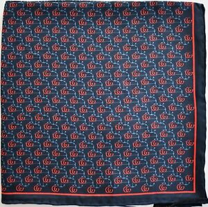 New Auth GUCCI ANCHOR GG LOGO 100% SILK Pocket Square Handkerchief