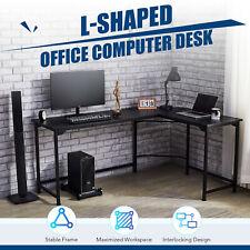 L Shaped Gaming Desk Computer Corner Desk W Cable Management 47x19 66x19 Black