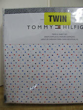 tommy hilfiger twin extra long sheet set red and blue mini dots on white new