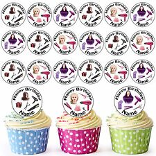 Girls Hair Dresser Mix 30 Personalised Pre-Cut Edible Birthday Cupcake Toppers
