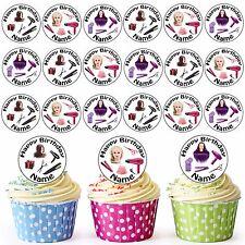 Girls Hair dresser Mix 24 Personnalisé Pré-Découpé Comestible Anniversaire Cupcake Toppers