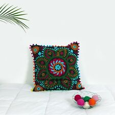 "Uzbek Suzani Pillow Case Indian Embroidered Cushion Cover 16"" Throw Pillow Case"