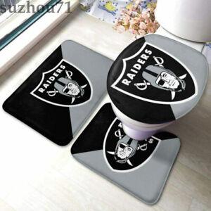 Las Vegas Raiders Bathroom Rugs 3PCS Non-Slip Mats Set Toilet Lid Cover Mats