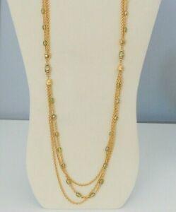 Vintage Gold Tone Triple Chain & Bead Necklace Signed MONET