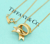 TIFFANY&Co Bow Ribbon Pendant Necklace 18k Yellow Gold v1806