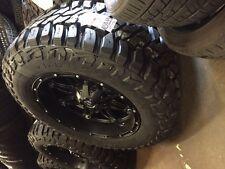 "20"" 20x10 Fuel Hostage Black Wheels 35"" MT Tires Package 8x6.5 Chevy GMC 8 lug"