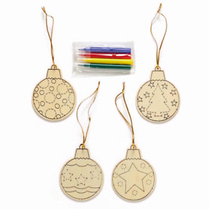 Christmas Colour Your Own Baubles Set With Colouring Pens Gift XMAS Tree