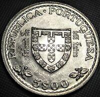 1960 Portugal 5 Escudos **UNC/BU**  KM# 587 - Silver Coin