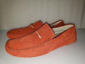 Bacco Bucci size 12 Elio Suede Loafers Slipon Driving Shoes Mango Orange