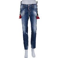 DSQUARED2 DSQUARED D2 Denim Cool Girl Jean Tassels Destroyed Jeans Blue XS 07336