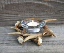 ROE DEER ANTLER CANDLEHOLDER HANDMADE (HORN, TEALIGHT CANDLE HOLDER, GLASS)