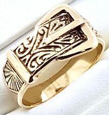 """9k ornate """"Buckle"""" RING_375 yellow gold_hallmarked"""