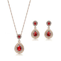 18k Gold Filled Red CZ Water Drop Necklace Earrings Fashion Jewelry Set