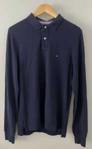 Tommy Hilfiger Long Sleeve Polo Size M Navy Blue Slim Fit VGC