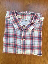 Men Trenery 100% Linen Long Sleeve Checked Shirt Multi-Colour Size XXL
